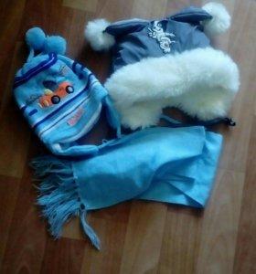 Шапочка с шарфиком,теплая шапочка