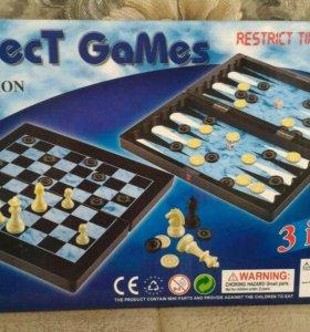 Настольная игра шахматы, 3 в 1