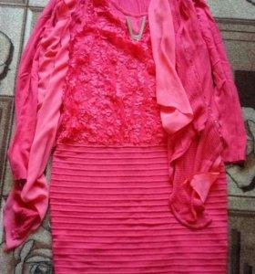 Платье трикотаж красивое с кардиганом