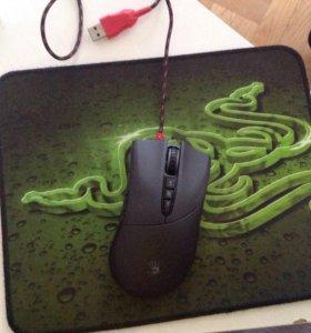 Коврик Razer  и мышка Bloody