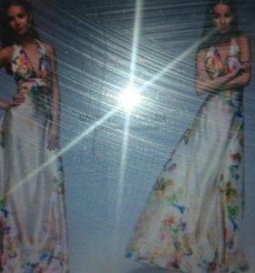 Платье атласное ванильное