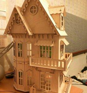 Дом для кукол из дерева с мебелью