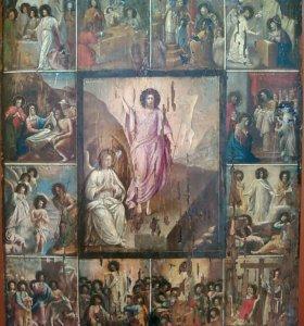 Икона Воскресение Христово с Праздниками 19 Век