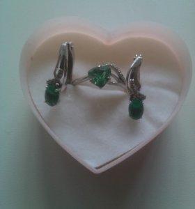 Набор серьги и кольцо серебро