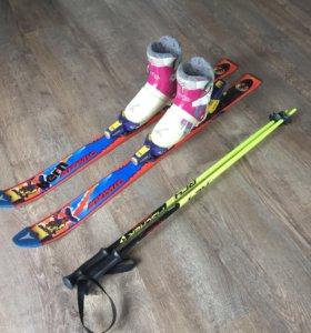 Детские горные лыжи 100; ботинки 19,5 см., 28-31 р