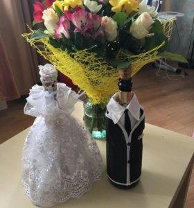 Украшение для свадебных бутылок