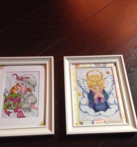 Картины вышивка в раме для детской