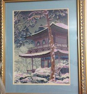 Картина ручная вышивка. Пагода Японии зимой
