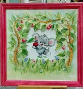 Мышонок с вишней Вышитая картина