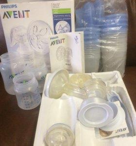 Молокоотсос + бутылочки + контейнеры AVENT