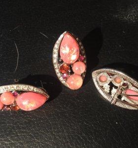 Набор сережки клипсы и перстень