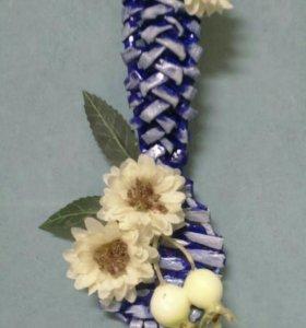 Декоративная плетеная ложечка из бумажной лозы