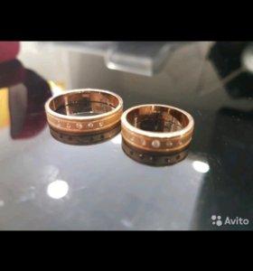 Парные обручальные кольца с бриллиантом