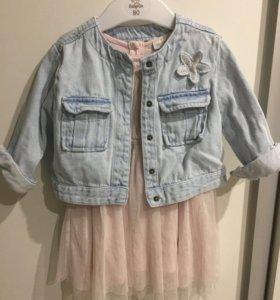 Платье для девочки и джинсовая курточка