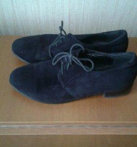 Женские замшевые туфли на шнурках 41 размер