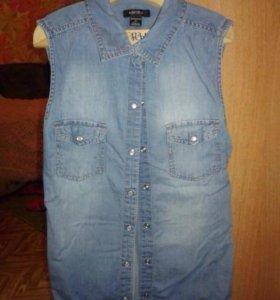 Рубашка джинсовая без рукавов