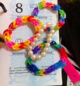 Комплект детских браслетов из резинок