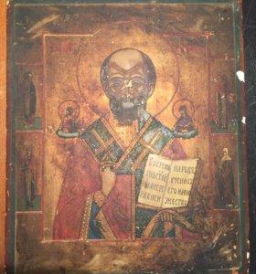 Николай Чудотворец середина 19 века по серебру
