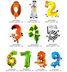 Новые Фольгированные шары зверята цифры