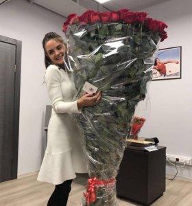 Длинные розы 101 роза