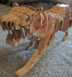 Тигр 3D пазл умная игрушка модель дерево