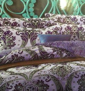 Семейный комплект постельное белье сатин тенсель