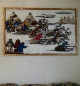 Картина из меха оленя и шерсти