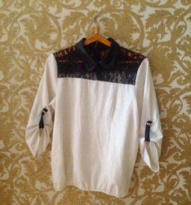 50 Белая блузка с кружевным воротничком
