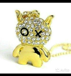 Золотой кот в бриллиантах флэшка 8GB. От 2-х доста