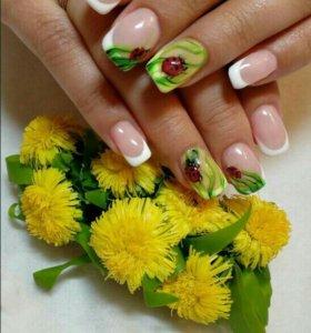 Маникюр , наращивание ногтей акрил, ручная роспись