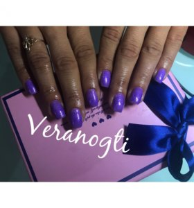 Шеллак маникюр фиолетов блестящий