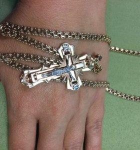 Золотые цепь и крест (авторская работа ювелира)