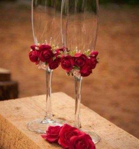 Свадебные бокалы. Бокалы декоративные