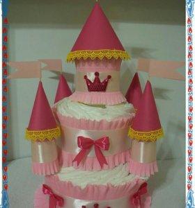 Замок (торт) из подгузников в наличии