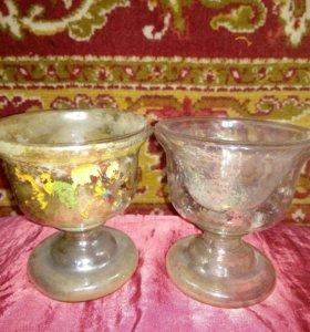 Два старинных фужера двойное стекло