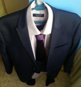 Современный новый костюм-тройка, 46-50. Турция