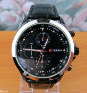 Кварцевые часы Curren, черные с золотисто розовым
