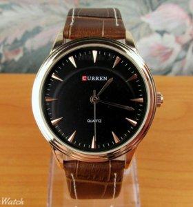 Кварцевы часы Curren, чёрные, мужские с коричневым
