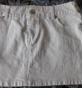 Джинсовая белая юбка