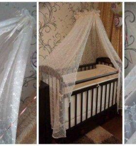 Детская кроватка-маятник с комплектом