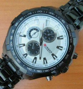 Кварцевые часы Curren, мужские черные с белым