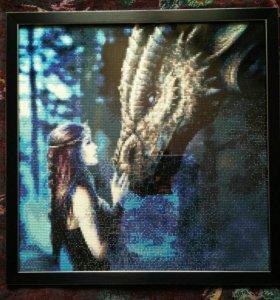 """Готовая алмазная мозаика """"Девушка и дракон"""""""