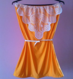 Новогоднее платье сарафан с кружевом