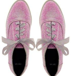 розовые кеды оксфорды с острым носом с ленточками