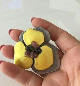 Крупная брошь цветок 🌹 украшение кулон бижутерия