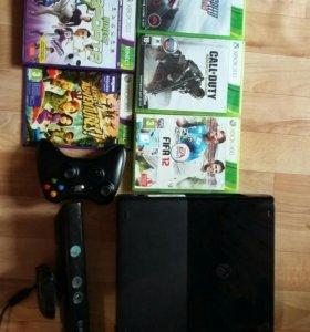 Xbox 360 500 гб+ kinect+ 2 джойстика+ 5 игр
