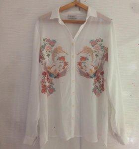 Блуза белая полупрозрачная