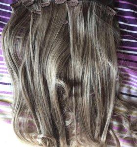 Волосы на заколках русый пепельный