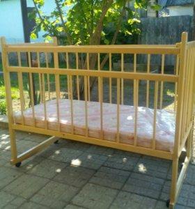 Детская кроватка+новый матрас