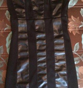 Платье с кожаными вставками новое